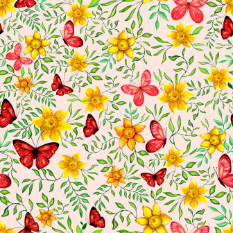 Butterfly illustration with daffodils